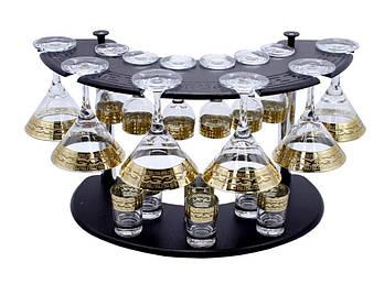 Набор бокалов на стойке (6 рюмок, 6 стопок, 6 бокалов для мартини) рисунок Версаче,19 предметный.