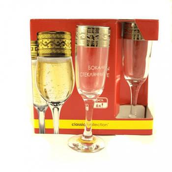 """Набор бокалов для шампанского GE08-357 рисунок """"Версаче"""" 6 шт."""