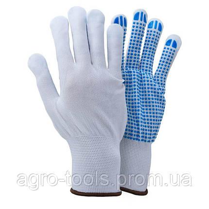 Перчатки трикотажные с точечным ПВХ покрытием р8 (белые, манжет) SIGMA (9442411), фото 2