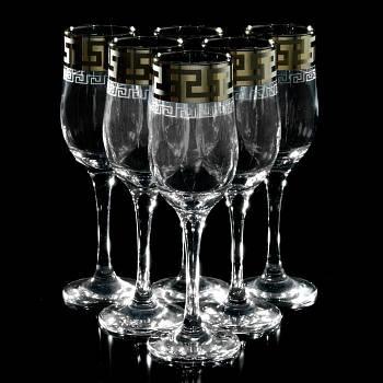 """Набор бокалов для шампанского 190 мл """"Греческий узор"""" 6шт."""