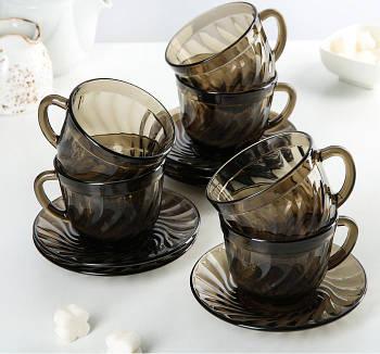 Набор чайный Ocean Eclipse 12 предметный(6 чашек 220 мл и 6 блюдец) Luminarc.