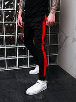 Спортивные штаны мужские с лампасами черные-красные трикотажные Мужские штаны с полосками Акция 1+1=2!!