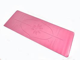 Килимок для йоги PU 183 х 68 х 0,4 см з розміткою рожевий