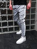 Спортивные штаны мужские с лампасами светло-серые трикотажные Мужские штаны с полосками Акция 1+1=2!!