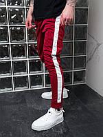 Спортивные штаны мужские с лампасами красные трикотажные Мужские штаны с полосками Акция 1+1=2!!