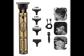 Профессиональная машинка триммер для стрижки волос 3 насадки USB аккумулятор металлический корпус VGR V-085