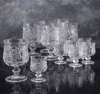 Набор бокалов «Ледяная звезда», 12 шт: 6 бокалов 200 мл, 6 рюмок 50 мл