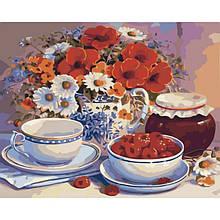 """Картина по номерам. Букеты """"Приглашение на чай"""" KHO2029, 40х50 см"""