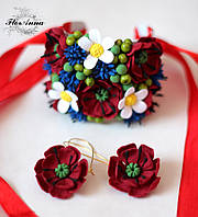 """""""Полевые цветы"""" серьги + браслет. Авторский комплект украшений, фото 1"""