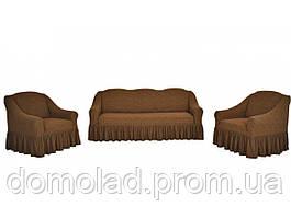 Жаккардовые Чехлы на Диван и 2 Кресла с Оборкой Универсальный Размер Набор 409