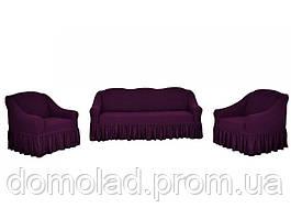 Жаккардовые Чехлы на Диван и 2 Кресла с Оборкой Универсальный Размер Набор 425