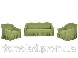 Жаккардовые Чехлы на Диван и 2 Кресла с Оборкой Универсальный Размер Набор 428