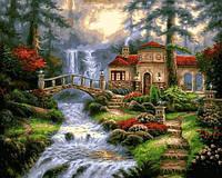Картина по номерам Мост у водопада, 40x50 см., Babylon