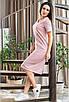 Удобное прямое летнее прогулочное платье трикотажное ниже колен, модная повседневная одежда на лето, фото 3