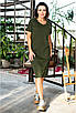 Удобное прямое летнее прогулочное платье трикотажное ниже колен, модная повседневная одежда на лето, фото 5