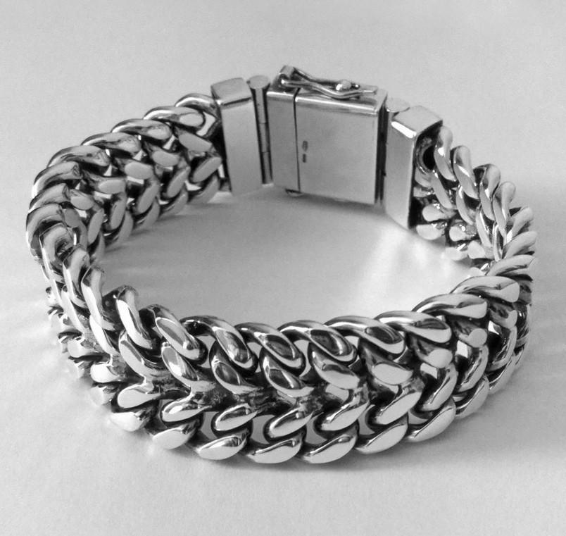 Серебряный мужской браслет Панцирный двойной, плетение панцирь серебро