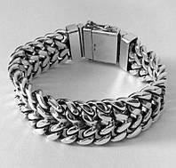 Серебряный мужской браслет Панцирный двойной, плетение панцирь серебро, фото 1