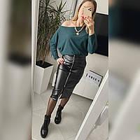 Женский стильный костюм свитер и юбка из эко-кожи Норма, фото 1