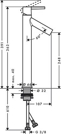 Смеситель Axor Starck 250 для раковины Lever, хром 10103000, фото 2