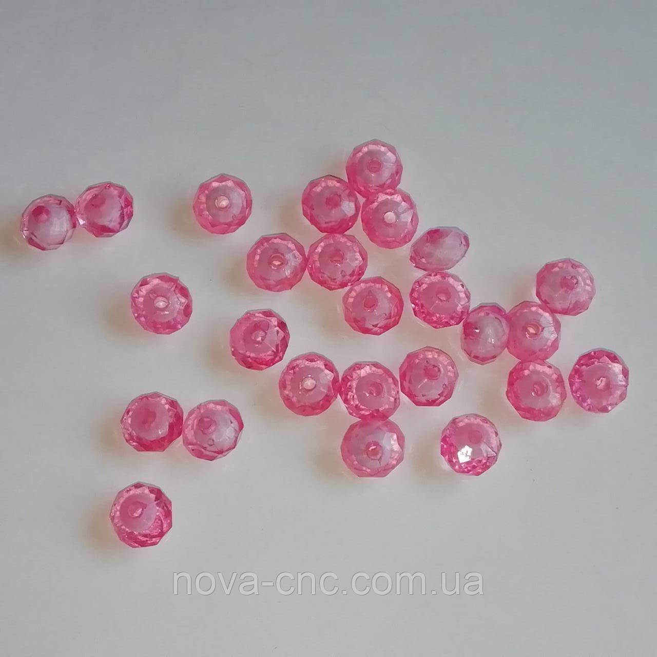 """Намистини акрил """"Рондель"""" рожевий з білою серединкою 10 мм 500 грам"""