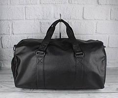 Cумка дорожная спортивная кожзам черная, отдел для обуви 1327-2