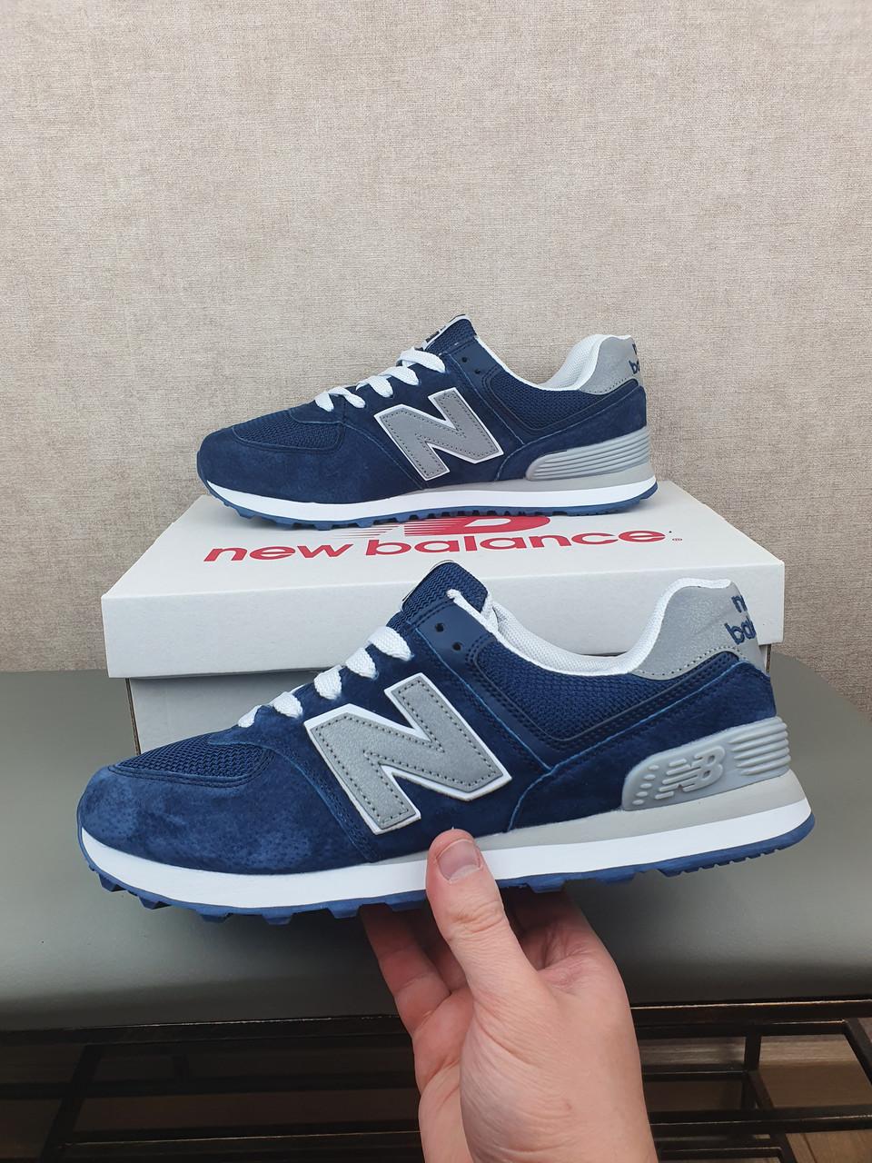 Кроссовки мужские весенние синие с серым New Balance 574. Кроссы на весну Нью Беланс 574 замша сетка