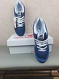 Кроссовки мужские весенние синие с серым New Balance 574. Кроссы на весну Нью Беланс 574 замша сетка, фото 2