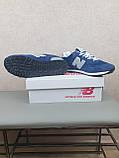 Кросівки чоловічі весняні сині з сірим New Balance 574. Кроси на весну Нью Беланс 574 замша сітка, фото 5