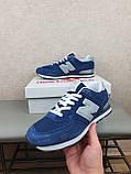 Кросівки чоловічі весняні сині з сірим New Balance 574. Кроси на весну Нью Беланс 574 замша сітка, фото 7