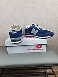 Кросівки чоловічі весняні сині з сірим New Balance 574. Кроси на весну Нью Беланс 574 замша сітка, фото 9