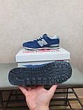 Кросівки чоловічі весняні сині з сірим New Balance 574. Кроси на весну Нью Беланс 574 замша сітка, фото 10
