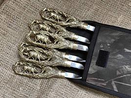 """Подарочный набор шампуров с бронзовыми ручками """"Кабан"""" в тканевом чехле"""