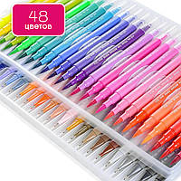Акварельные маркеры для скетчинга с кистью 48 цветов, художественные двусторонние маркеры на водной основе