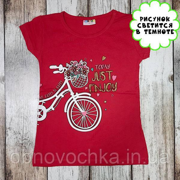 """Дитяча світонакопичувальна футболка """"Велосипед"""" червоний зріст 110"""