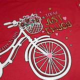 """Дитяча світонакопичувальна футболка """"Велосипед"""" червоний зріст 110, фото 2"""