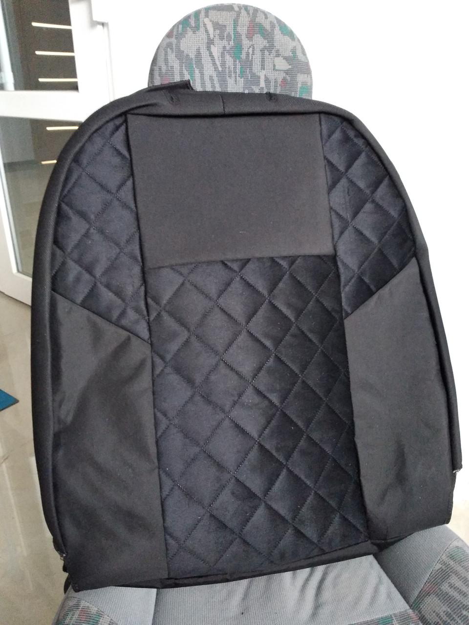 Чехлы на сиденья авто универсальные MAX алькантара (спинка деленка) Черный