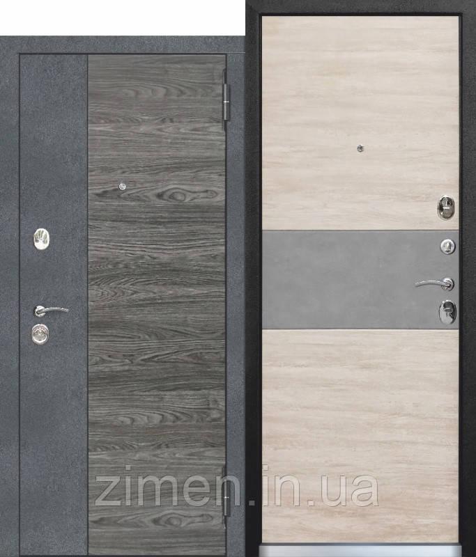 Вхідні двері 9,5 см ОРЛАНДО Бетон, графіт, В'яз каньйон вікової / Дуб вінтаж білий, сірий бетон