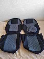 Чехлы на сиденья авто универсальные MAX алькантара (спинка деленка) Черный, фото 3