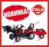 Дитячий трактор на педалях з причепом і переднім ковшем Falk 961AM CASE IH MAXXUM (колір червоний)