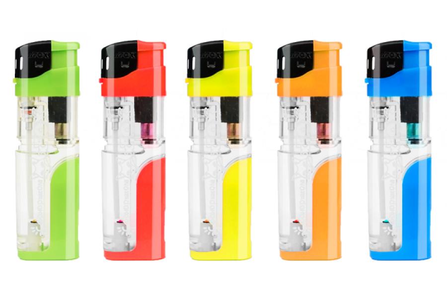 Зажигалка x-Fox FX-204LED цветная прозрачная с фонариком