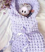 В'язаний дитячий плед на виписку, Плед ручної роботи Алізе пуфф, Плюшевий плед, Плед малюкові в ліжечко