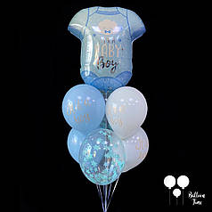 Связка шаров на выписку из роддома для мальчика