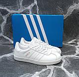 Білі кеди, кріпери чоловічі в стилі Adidas gazelle (адідас газель), фото 4