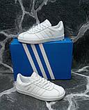 Білі кеди, кріпери чоловічі в стилі Adidas gazelle (адідас газель), фото 3