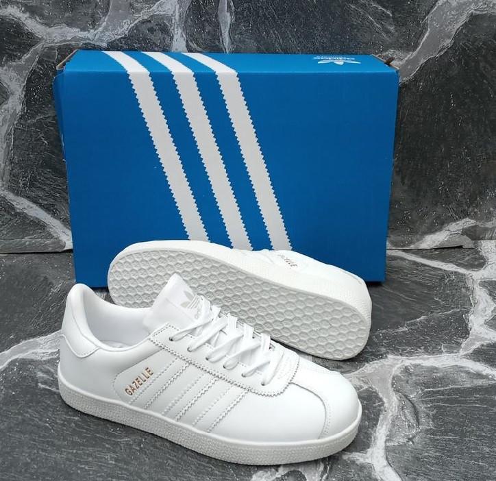 Білі кеди, кріпери чоловічі в стилі Adidas gazelle (адідас газель)