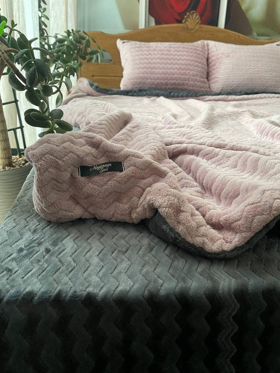 Велюровый Комплект постельного белья  Волна двухсторонний Пудра - Графит