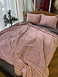 Велюровый Комплект постельного белья  Волна двухсторонний Пудра - Графит, фото 2
