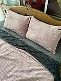 Велюровый Комплект постельного белья  Волна двухсторонний Пудра - Графит, фото 5