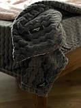 Велюровый Комплект постельного белья  Волна двухсторонний Пудра - Графит, фото 6