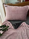 Велюровый Комплект постельного белья  Волна двухсторонний Пудра - Графит, фото 3